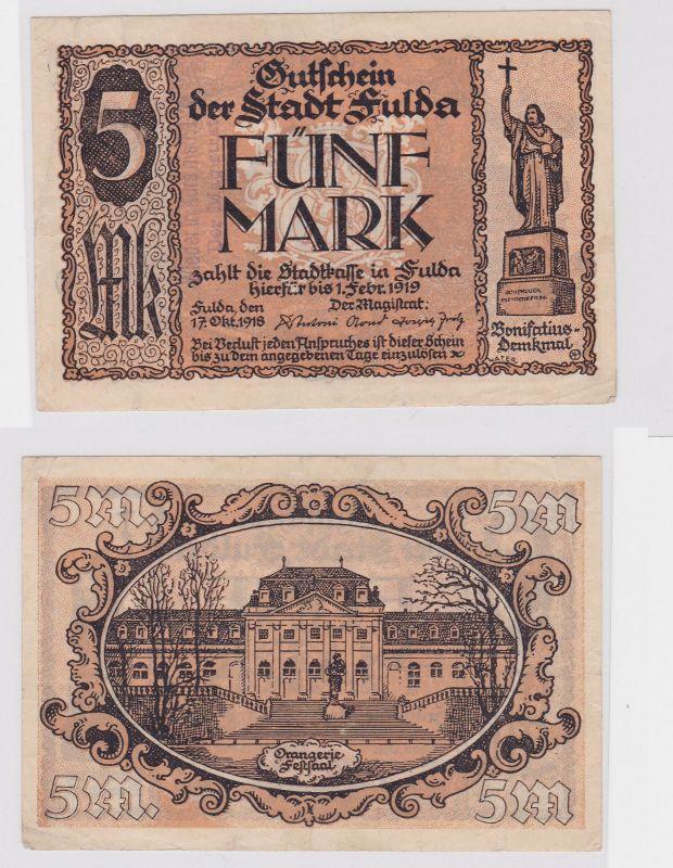 5 Mark Banknote Großnotgeld Stadt Fulda 17.10.1918 (126320)