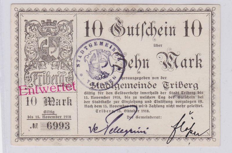 10 Mark Banknote Notgeld Stadtgemeinde Triberg 15.10.1918 (126083)