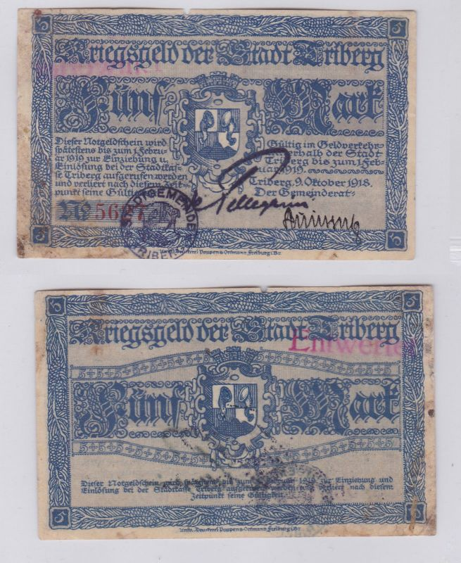 5 Mark Banknote Notgeld Stadt Triberg 9.10.1918 (126106)