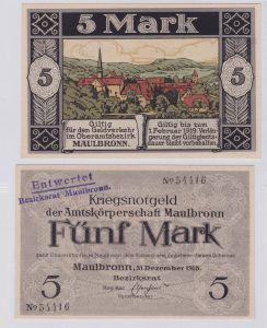 5 Mark Banknote Amtskörperschaft Maulbronn 31.12.1918 (126596)