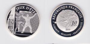 10 Euro Silbermünze Frankreich 2010 Olympiade 2012 Handball PP (126801)