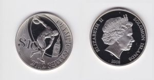 10 Dollar Silbermünze Salomon Inseln 2008 Olympiade 2012 Diskuswerfer (127256)
