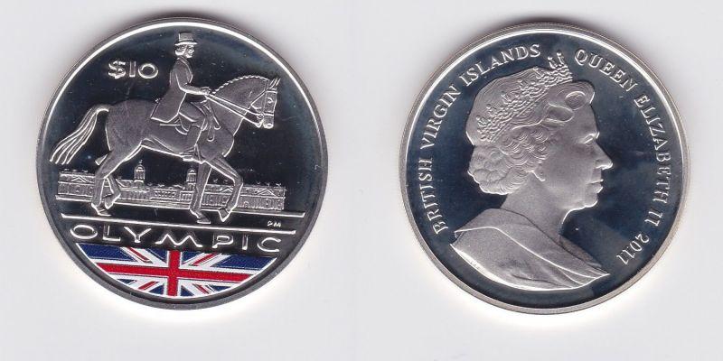10 Dollar Silbermünze Jungferninseln 2011 Olympiade 2012 Reiter PP (126799)