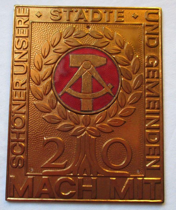 Einseitige DDR Bronze Plakette 20 Jahre - Mach Mit Wettbewerb - Schild (126052)