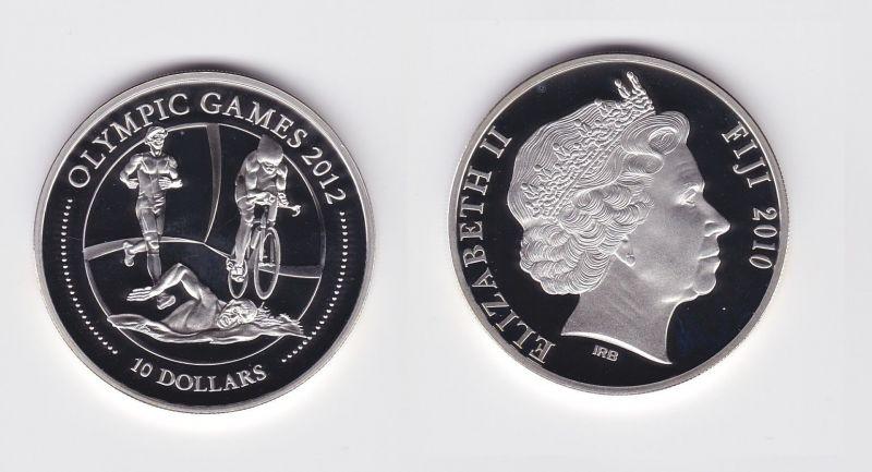 10 Dollar Silbermünze Fiji Fidschi 2010 Olympische Spiele 2012 Triathlon (126797