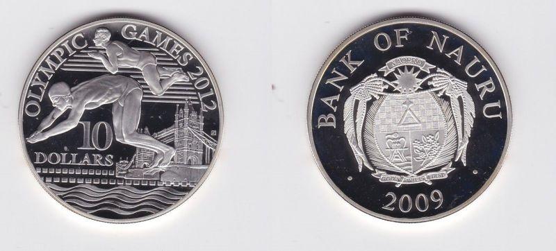 10 Dollar Silbermünze Nauru 2009 Olympische Spiele 2012 Schwimmer PP (126785)