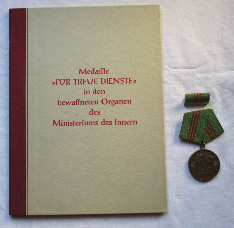 DDR Medaille MdI für treue Dienste Bronze + Urkunde Minister Maron 1959 (126001)