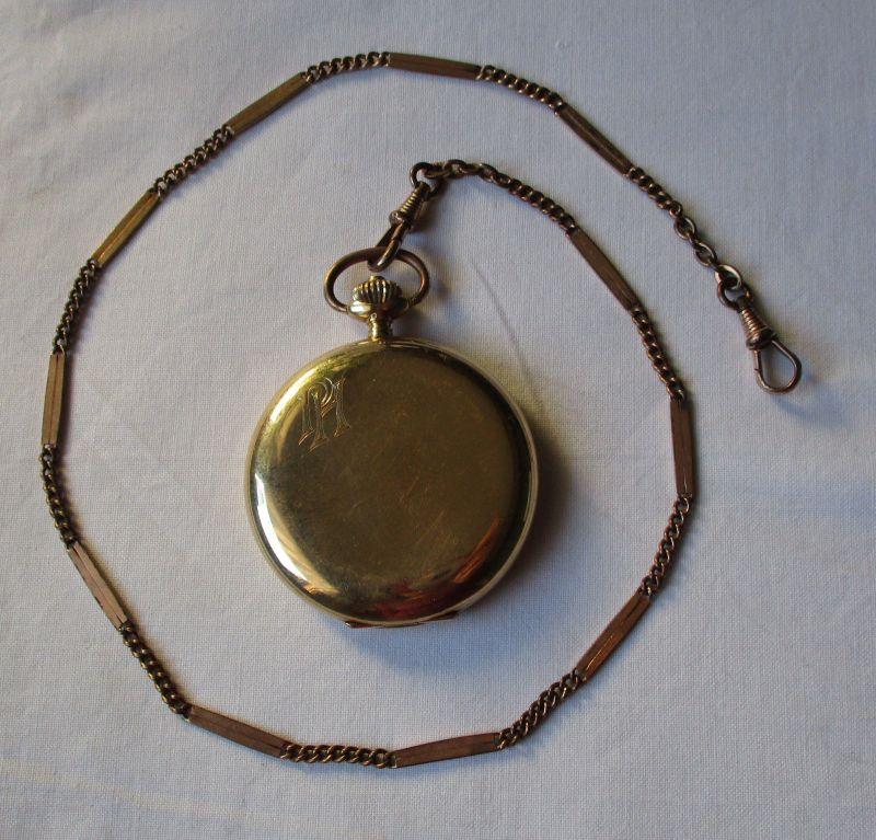 Schöne Savonette Sprungdeckel Taschenuhr Alpina 585er Gold 1929 (126198)