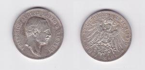 3 Mark Silber Münze Sachsen König Friedrich August 1910 E (127395)