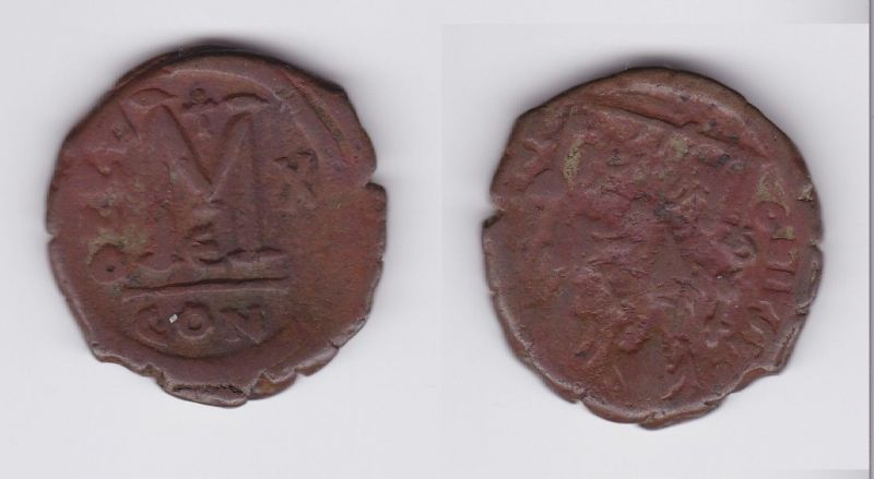 Bronze Münze Follis 565-578 n.Chr. Byzanz Justin II. Constantinopolis (126994)