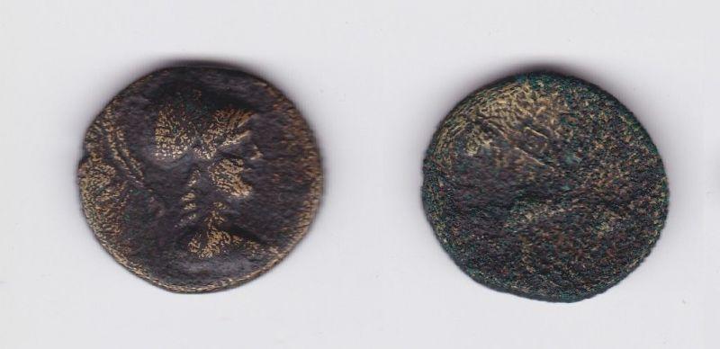 Antike griechische Bronze Münze Mysia Mysien behlemte Athena (127283)