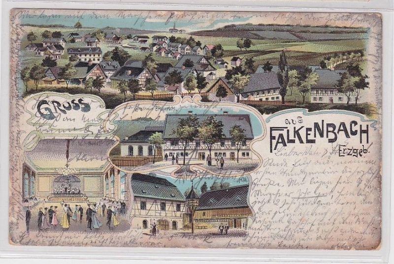 89429 Ak Lithographie Gruß aus Falkenbach im Erzgebirge Gasthaus 1905