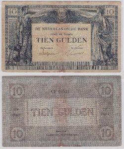 Seltene 10 Gulden Banknote Niederlande 27.Oktober 1921 (105162)