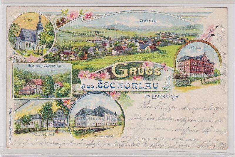 89391 Ak Lithographie Gruß aus Zschorlau im Erzgebirge 1902