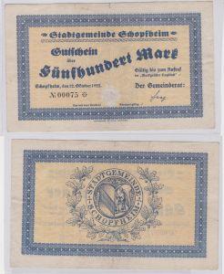500 Mark Banknote Stadtgemeinde Schopfheim 12.10.1922 (126247)