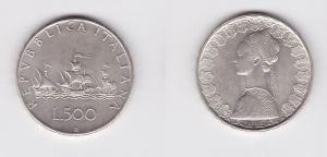500 Lire Silber Münze Italien 1970 Segelschiffe Christoph Kolumbus (127230)