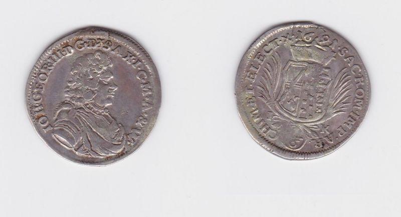 1/6 Taler Silber Münze Kurfürstentum Sachsen Joh. Georg III. IK 1691 (127352)