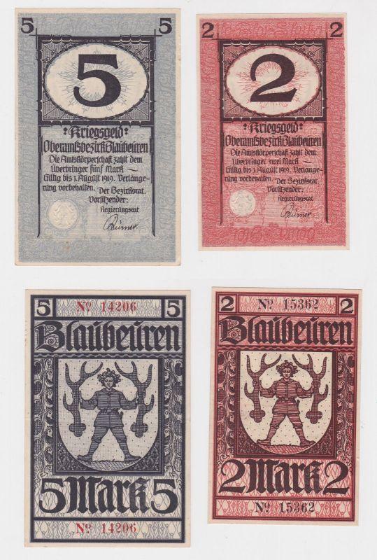 2 und 5 Mark Banknoten Notgeld Oberamtsbezirk Blaubeuren 1919 (127203)