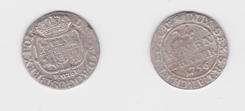 1/24 Taler Silber Münze Kurfürstentum Sachsen August II. FWôF 1756 (127355)