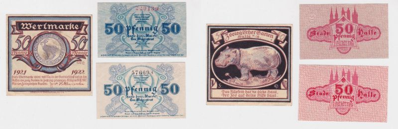 3 Banknoten Notgeld Halle an der Saale 1917-1921 (126274)