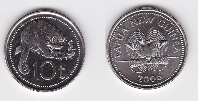 10 Toea Stahl Münze Papua New Guinea 2006 (122107)