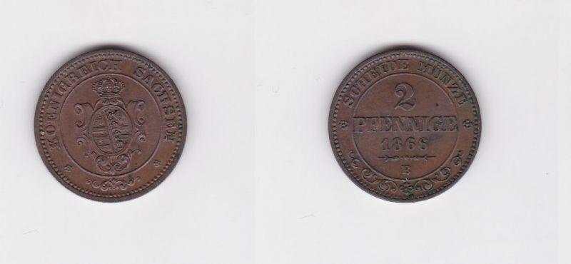 2 Pfennige Kupfer Münze Sachsen 1866 B (127357)