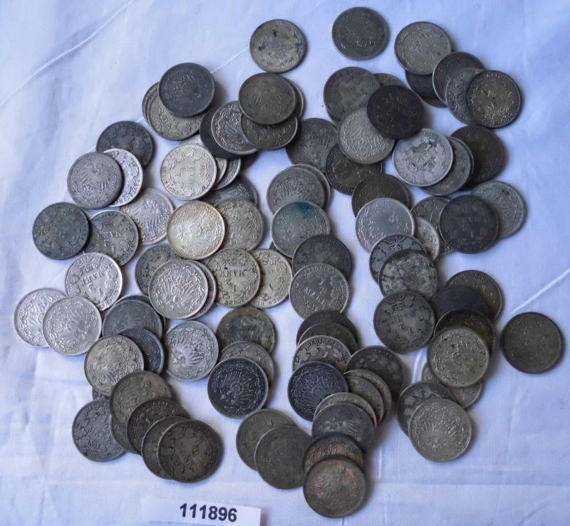 65 interessante Silber Münzen 1/2 Mark Kaiserreich (111898)