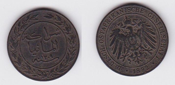 1 Pesa Kupfer Münze Deutsch Ostafrika 1892  (120891)