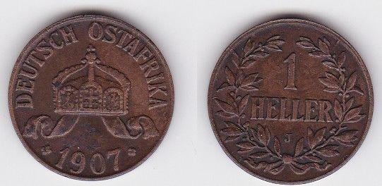 1 Heller Kupfer Münze Deutsch Ostafrika 1907 J (123311)