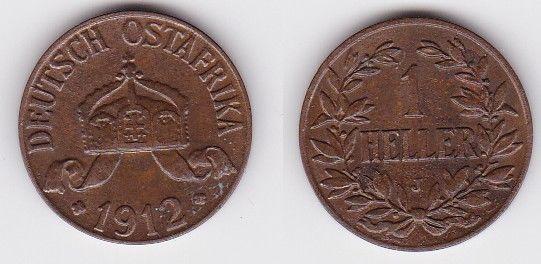 1 Heller Kupfer Münze Deutsch Ostafrika 1912 J (122967)