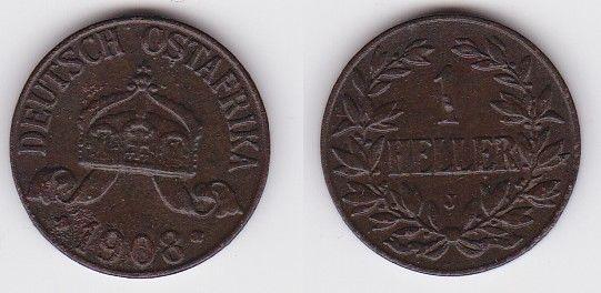 1 Heller Kupfer Münze Deutsch Ostafrika 1908 J (120332)