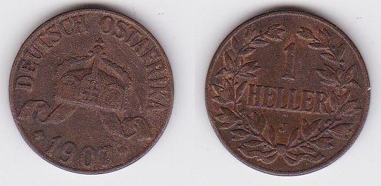 1 Heller Kupfer Münze Deutsch Ostafrika 1907 J (121732)