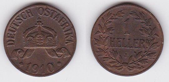 1 Heller Kupfer Münze Deutsch Ostafrika 1910 J (121732)