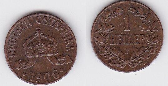 1 Heller Kupfer Münze Deutsch Ostafrika 1906 J (122633)