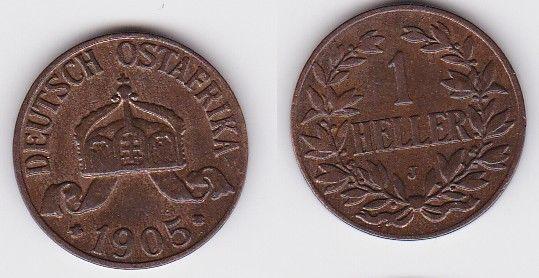 1 Heller Kupfer Münze Deutsch Ostafrika 1905 J (122670)
