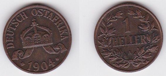 1 Heller Kupfer Münze Deutsch Ostafrika 1904 A (122032)