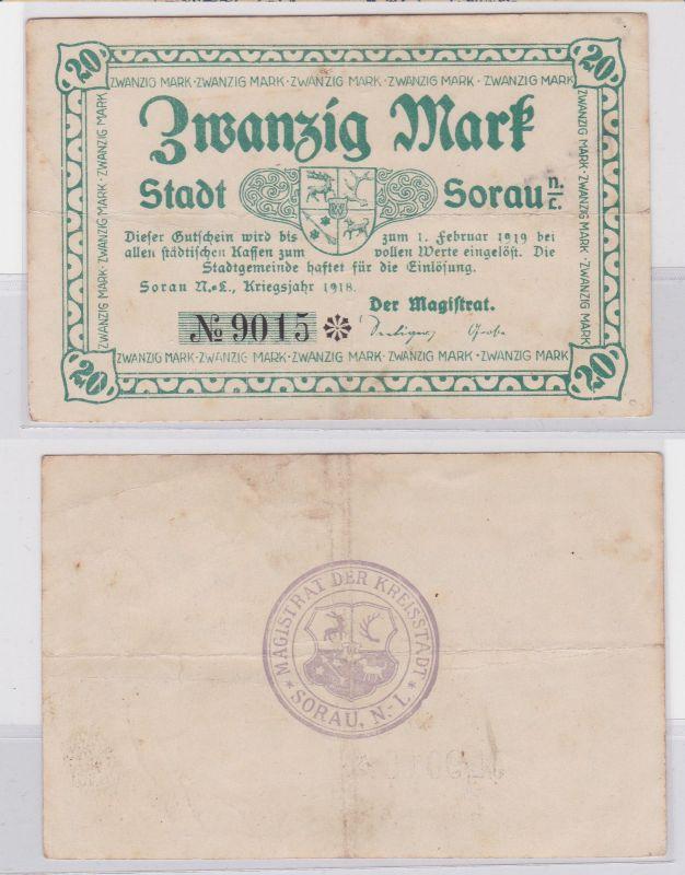 20 Mark Mark Banknote Kriegsnotgeld Stadt Sorau N.-L. 1918 (126252)