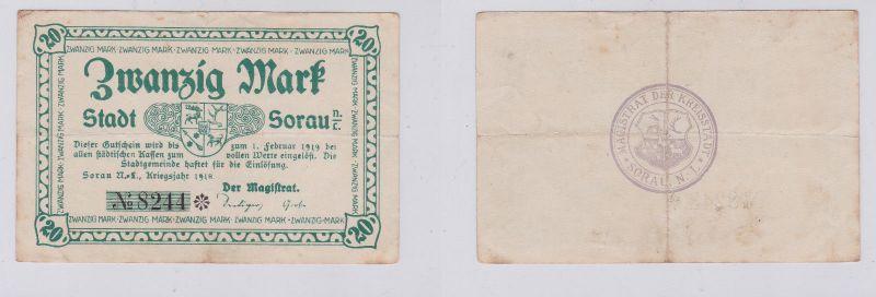 20 Mark Mark Banknote Kriegsnotgeld Stadt Sorau N.-L. 1918 (126110)