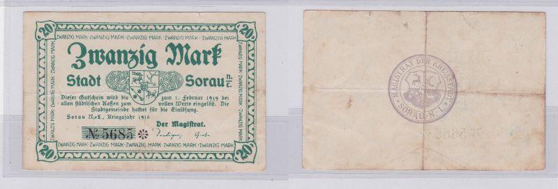 20 Mark Mark Banknote Kriegsnotgeld Stadt Sorau N.-L. 1918 (125967)