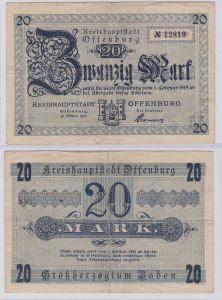 20 Mark Banknoten Stadt Kreishauptstadt Offenburg 22.10.1918 (126412)