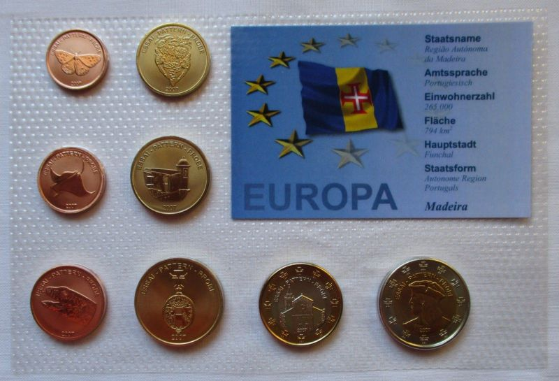 Proben Kursmünzsatz Madeira 8 Münzen 1 Ceros - 2 Europ 2007 im Blister (125896)
