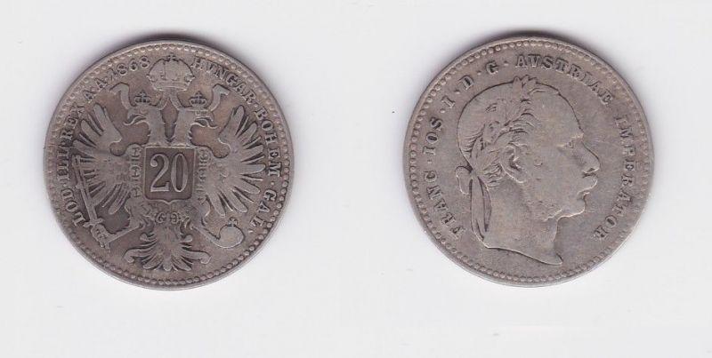 20 Kreuzer Silber Münze Habsburg Österreich Franz Joseph I. 1868 (126974)