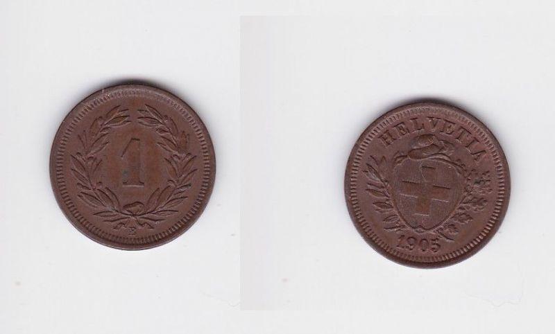 1 Rappen Kupfer Münze Schweiz 1905 B (127186)