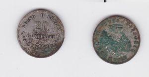 20 Centesimi Silber Münze Italien Vittorio Emanuele II. 1863 (126870)
