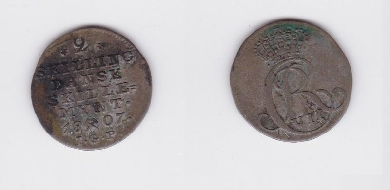 2 Schilling Silber Münze Dänemark 1807 Igp 126686