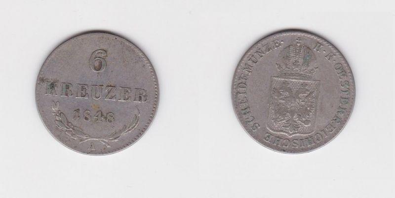 6 Kreuzer Kupfer Münze Österreich 1848 A (126985)