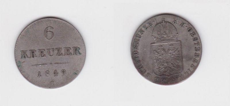 6 Kreuzer Kupfer Münze Österreich 1849 C (126983)