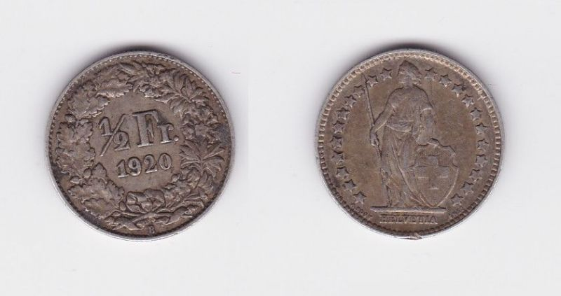 1/2 Franken Silber Münze Schweiz 1920 B (127159)