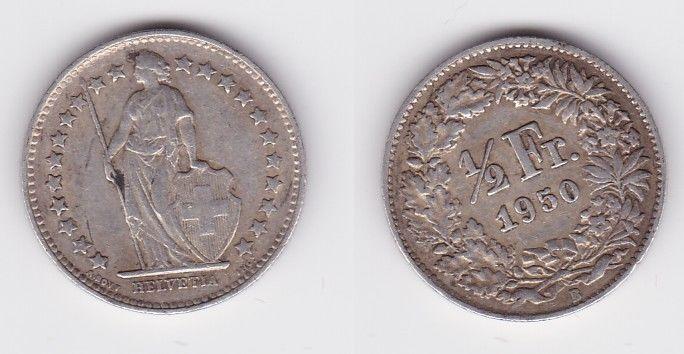 1/2 Franken Silber Münze Schweiz 1950 B (126706)
