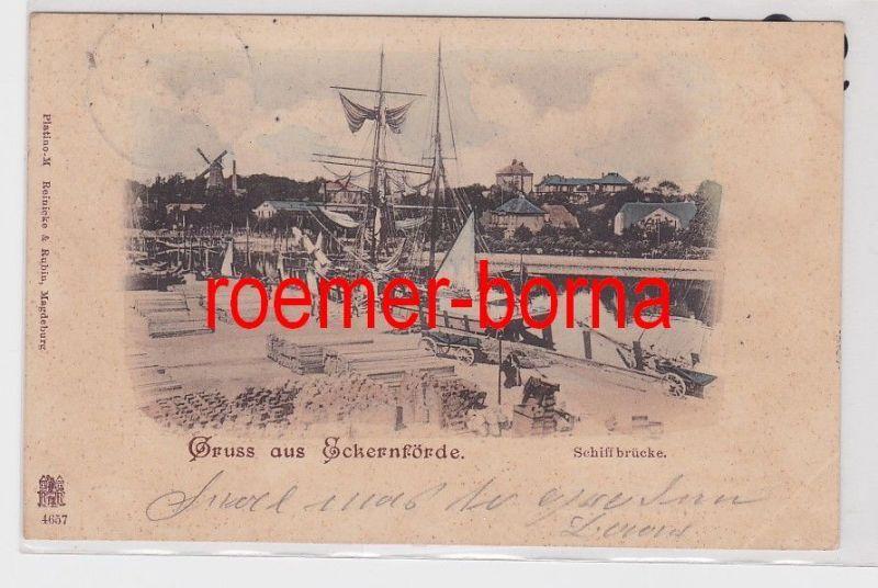 85893 Ak Gruss aus Eckernförde Schiffbrücke 1899